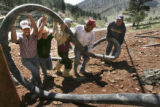 HGTV Dream House project.    Contractor James Casanova (cq), second from left, helps concrete...