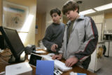At his home, Jeffrey Aschkinasi, 12, and his partner Nathan Post 12 (l-r) have had a stationary...