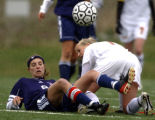 Englewood, Colo., photo taken April 29, 2005- Kent Denver's, Lauren Schopp (#8 CQ LEFT), gets...