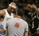 Denver Nuggets #6 Kenyon Martin, left, and San Antonio Spurs #5 Robert Horry laugh it up after...