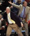 San Antonio head coach Gregg Popovich (left) and assistant coach Mike Budenholzer (right) argue a...
