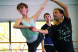 Christopher Wheeldon rehearses Colorado Ballet dancers Maria Mosina and Edward Stegge for...