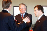 (DENVER, Colo., May 4, 2005) Canadian Ambassador Frank McKenna (cq-rt) speaks with Denver mayor,...