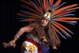 Sylvia Pastrana, a member of the Aztec dance troupe Teoihikatl, performs  during the 9th annual...