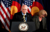 (DENVER, Colo., May 9, 2005) The Vice President of the United States, Dick Cheney, stands at the...