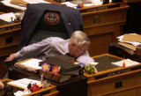 Rep. John Witwer,  R- Evergreen, reaches to push a button to record his vote in the Colorado House...
