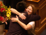 Rep. Rosemary Marshall, D-Denver, left, hugs Rep. Alice Madden, D-Boulder, right, after the...