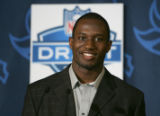 Denver Bronco's NFL second draft pick, in round 3, 76 pick overall,  Karl Paymah, CB from...