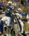 (INDIANANPOLIS., JANUARY 09, 2005)  Denver Broncos' #45, Roc Alexander, right, trys to defend...