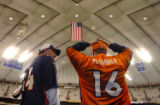 (INDIANANPOLIS., JANUARY 09, 2005)  Denver Broncos' fans Sam Jack, 44, of Arvada, left, and Chuck...