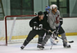 Colorado Avalanche rookies Paul Stastny, left, and Chris Stewart, right, go through drills at...