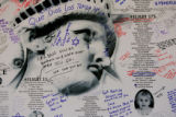 9/11 story.   New York on Sept 11, 2006.   Family members leave their messages on a remembrance...
