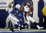 (INDIANAPOLIS, Ind. - Shot 1/9/2005) The Denver Broncos' Rod Smith (#80, WR) hauls in a nine yard...
