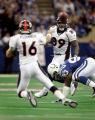 (INDIANAPOLIS, Ind. - Shot 1/9/2005) The Denver Broncos' Jake Plummer (#16, QB) gets a pass off to...