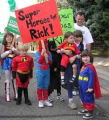 """Super heroes for Rick"" for Stump tomorrow. Unidentified people campaigning for..."