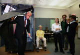 (NYT9) NEW YORK -- Sept. 12, 2006 -- NY-ELECT-2 -- Mark Green emerges from the voting booth after...