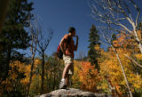 MJM741  Matt Kepnes (cq), 25, observes the changing color of the aspen trees at Rocky Mountain...