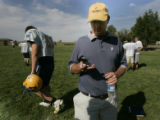 Wheatland HS football coach Mick Cochran gets ready for practice with his team in Wheatland, Wyo....