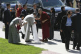 The Dali Lama arrives under very heavy security at the center. PeaceJam, University of Denver,...