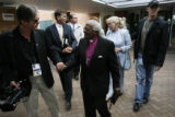 MJM1778  The Archbishop Desmond Tutu is greeted by Peace Jam co-founder Ivan Suvanjieff (cq),...