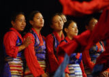 MJM4485 Tibetan students perform onstage at the Ritchie Center Sunday morning before the...
