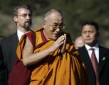 On September 17, 2006, the Dalai Lama blesses the crowd of about 2000 people gathered at the Great...