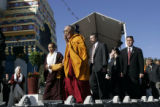 The Dalai Lama arrives at the Great Stupa at the Shambala Mountain Center in Red Feathers Lakes,...