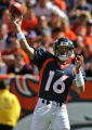 Denver Bronco quarter back Jake Plummer pass the ball against the Kansas City Chiefs  in the...