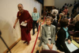 The 14th Dalil Lama (Tenzin Gyatso), left, followed by Jody Williams, and other Laureates enter a...