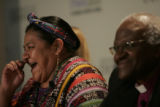 Rigoberta Menchu Tum, left has a laugh while she expresses her deep regaurd for Desmond Mpilo...
