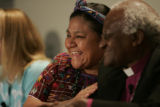 Rigoberta Menchu Tum, left, expresses her deep regaurd for Desmond Mpilo Tutu who she said was her...