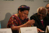 DLM00384   Nobel Peace Prize laureates Rigoberta Menchœ Tum, left, and Archbishop Desmond Tutu...