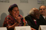 DLM00388   Nobel Peace Prize laureates Rigoberta Menchœ Tum, left, and Archbishop Desmond Tutu...