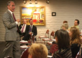Republican gubernatorial candidate, Bob Beauprez, spoke to an audience of almost a hundred members...