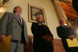 House Minority Leader Mike May, from left, speaking on behalf of former Colorado Governor John...