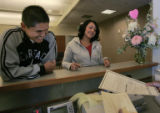 Rick Ramirez, (cq) 22 and Majesta Montez (cq) 22 are handed their marriage license to make sure...