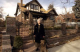 (DENVER, Colo., 1/10/2005)   ALCC winning landscaper Lynn Gregory with her dog, Ossie, in front of...