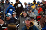 (BRECKENRIDGE, Co., SHOT 11/12/2004) Skiiers and snowboarders wait in line at the Beaver Run...