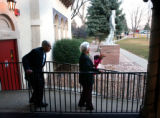 Denver, Colo., photo taken November 14, 2004- George Etta,87, and Donald Leeper,92, leave the...