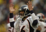 (San Diego, CA, December 5, 2004)  Jake Plummer has trouble getting the play because of the volume...