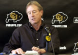 (BOULDER , Colo, November 22, 2004) CU coach Gary Barnett tells the media at a press conference at...