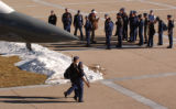 (COLORADO SPRINGS Colo., December 7, 2004) Airforce Academy cadets have a class outdoors by a...