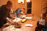 [(Durango, CO, Shot on: 11/22/04)] Becca James serves stir fry made with home grown grass fed beef...