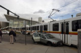 (DENVER, Colo.,  November 26, 2004) An RTD Lightrail train impacted with a car at the intersection...
