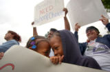 [Denver, CO - Shot on: 5/25/04]  Inter Christian School kindergartners Ayanna Johnson, 6, (left)...