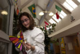 (Denver, Colo., November 30, 2004) Taryn Cantor, 13, puts up a butterfly at the Challenge School...