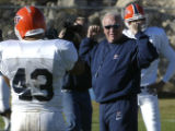 (EL PASO TIMES FILE PHOTO) University of Texas-El Paso Head Coach Mike Price coaches Wednesday at...