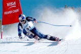 Daron Rahlves blasts down the 2004 Birds of Prey Ski World Cup Downhill course on his way towards...