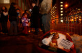 (DENVER, CO. DECEMBER 3, 2004) A basket with a babby Jesus holds a note of protest regarding the...