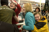 Denver, Colo.12/22/04-- Arrivals at DIA 3 days before Christmas.  Angela Valenza, left, of...
